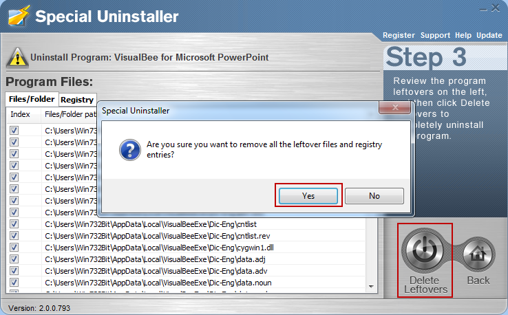 uninstall_VisualBee_program_with_Special_Uninstaller3