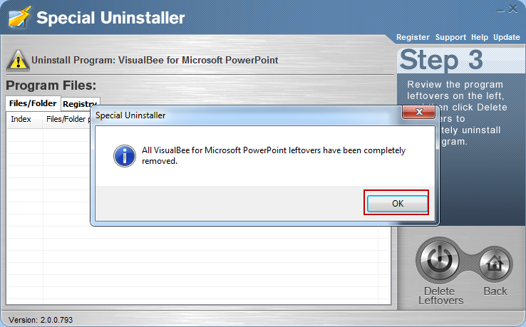 uninstall_VisualBee_program_with_Special_Uninstaller4