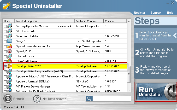 remove tuneup utilities 2012