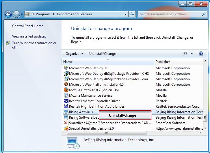 Uninstall_Rising_Antivirus_program