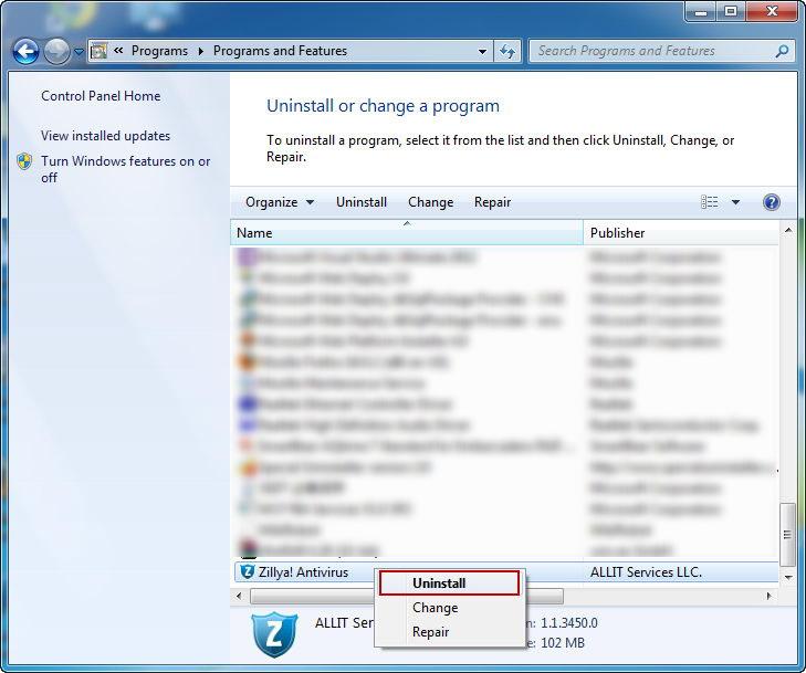 uninstall_Zillya!_Antivirus_programs