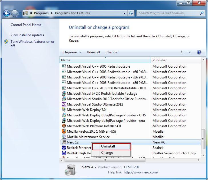 uninstall_Nero12_program_on_control_panel