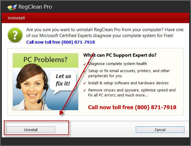 uninstall Regclean Pro