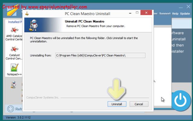 uninstall PC Clean Maestro