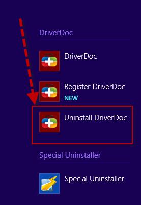 uninstall DriverDoc in Windows