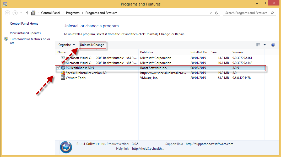 uninstall PCHealthBoost (CP)
