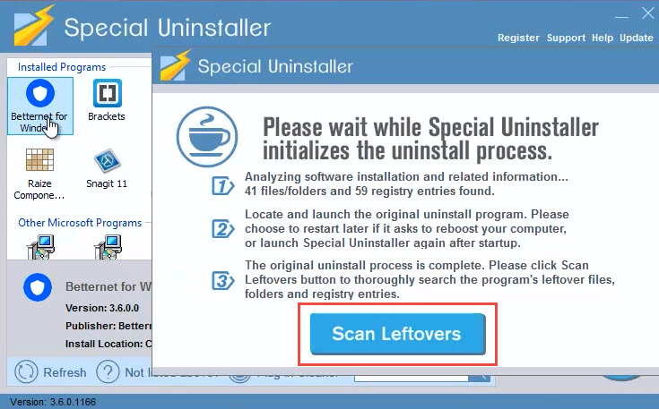 uninstall_betternet_scan