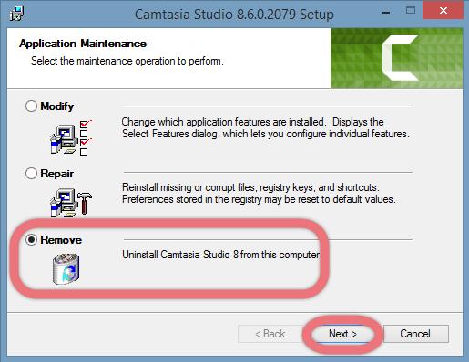 Confirm to remove Camtasia Studio 8.