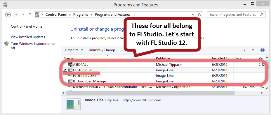Remove FL Studio 12 via the Control Panel.