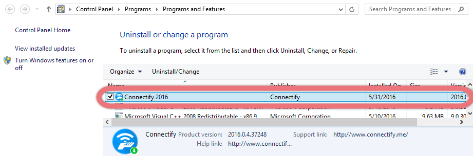Uninstall Connectify 2016 via the Control Panel