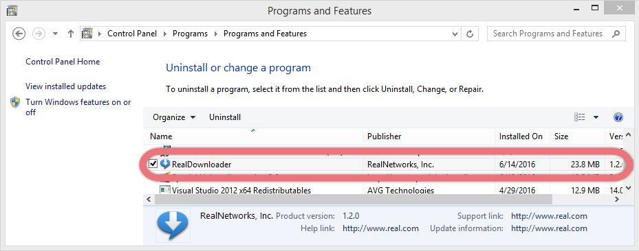 Uninstall RealDownloader via the programs list.