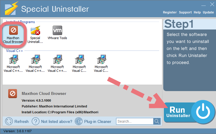 Uninstall Maxthon with Special Uninstaller