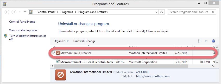 uninstall-maxthon