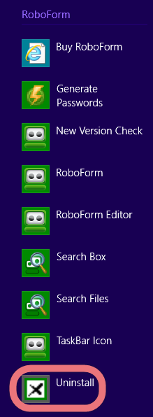 Manually find and uninstall RoboForm on PC.