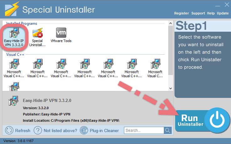 Remove Easy-Hide-IP VPN by using Special Uninstaller.