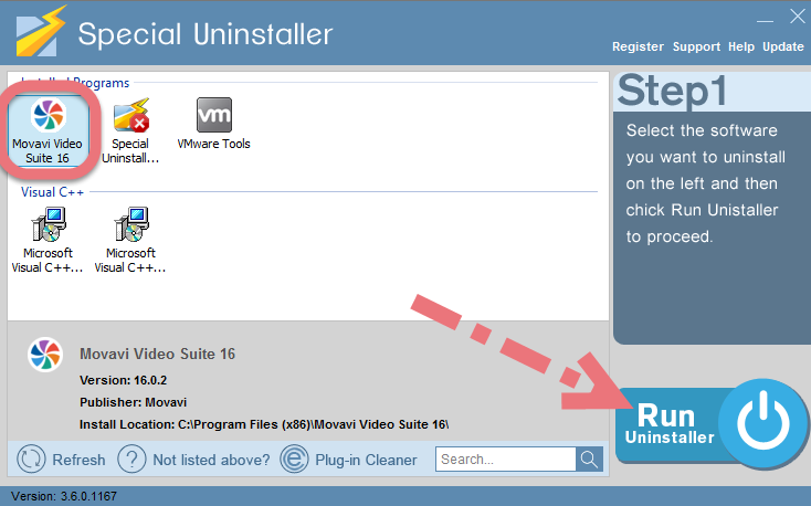 Remove Movavi Video Suite with Special Uninstaller.
