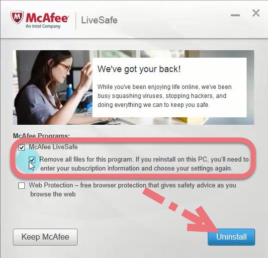 Remove McAfee LiveSafe