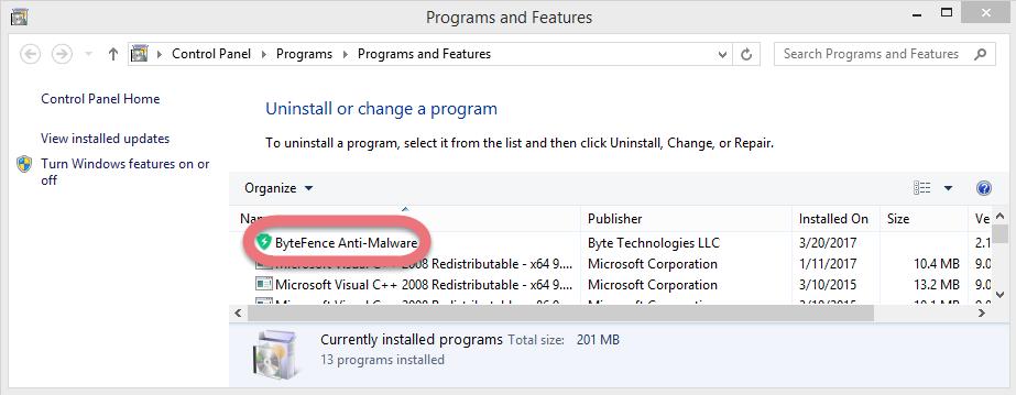 uninstall-bytefence-anti-malware