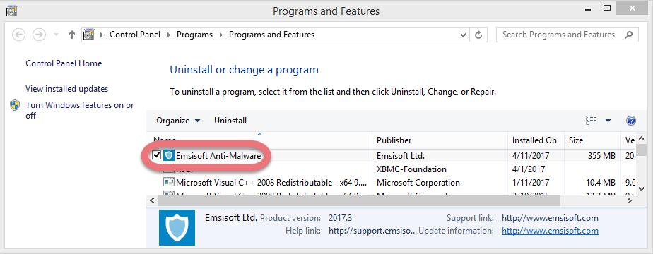 Uninstall Emsisoft Anti-Malware 11.0