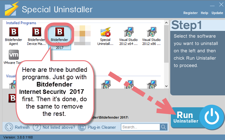 Uninstall Bitdefender Internet Security 2017 with Special Uninstaller.