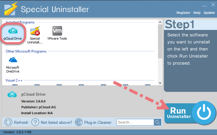 Easily remove pCloud using Special Uninstaller.