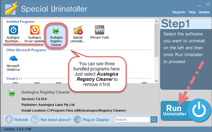 Easily Remove Auslogics Registry Cleaner using Special Uninstaller.