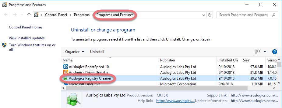 Remove Auslogics Registry Cleaner in Windows.