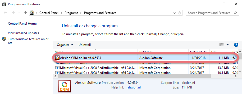 Remove Alextion CRM in Windows.