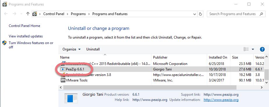 Remove PeaZip for Windows.