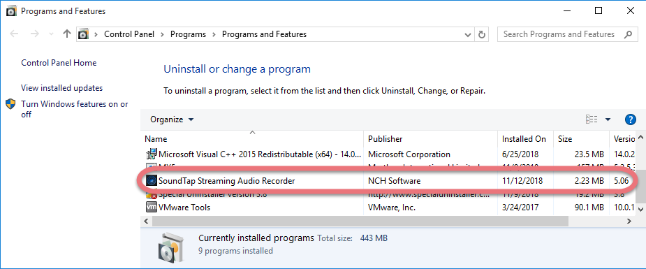 Remove SoundTap in Windows.