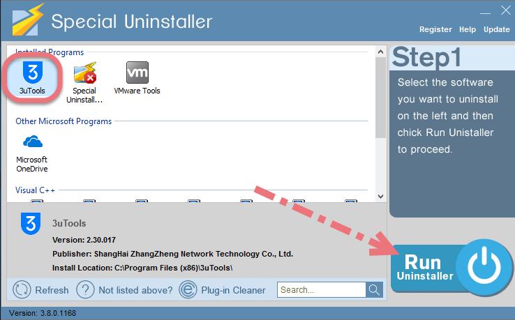 Remove 3uTools using Special Uninstaller.