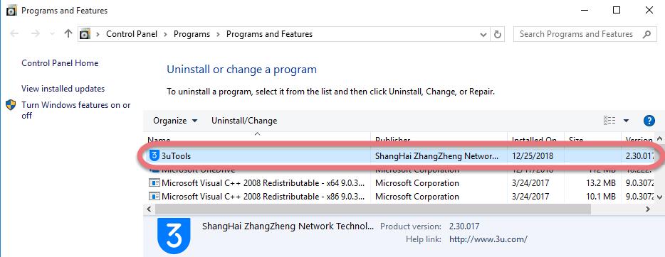 remove 3uTools in Windows.