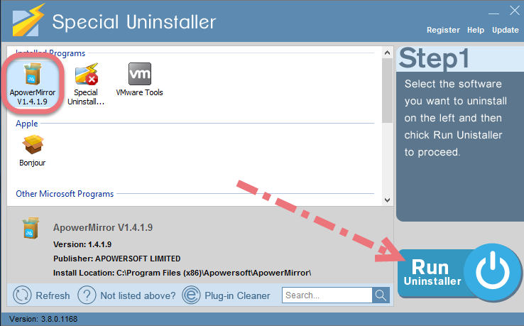 Remove ApowerMirror using Special Uninstaller.