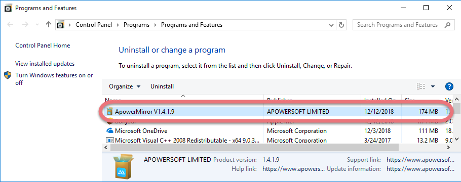Remove ApowerMirror in Windows