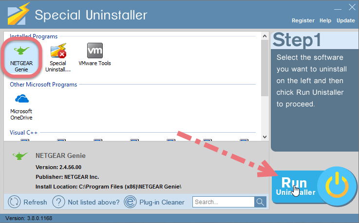 Remove NETGEAR Genie using Special Uninstaller.