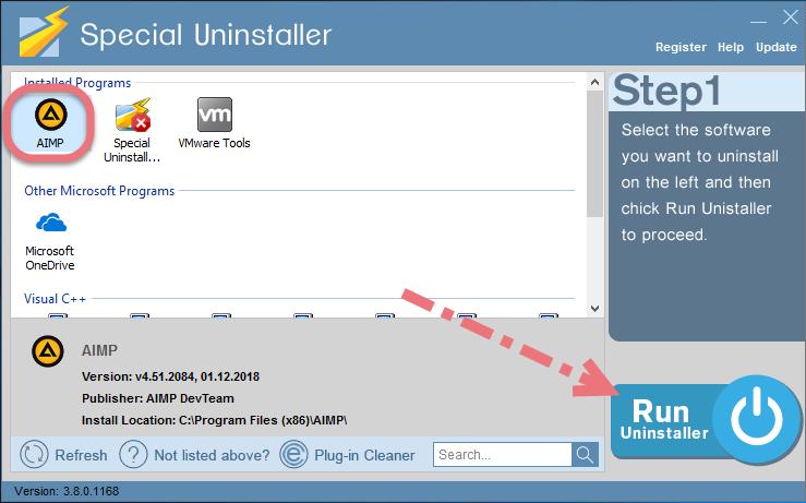 Uninstall AIMP using Special Uninstaller.