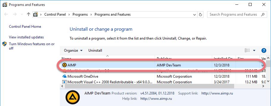 uninstall AIMP in Windows