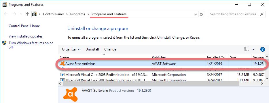 Remove Avast Free Antivirus 2019