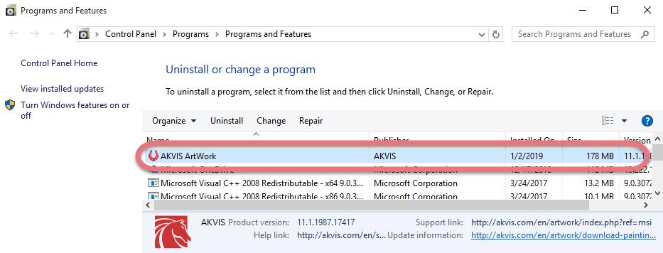 Uninstall AKVIS ArtWork in Windows.