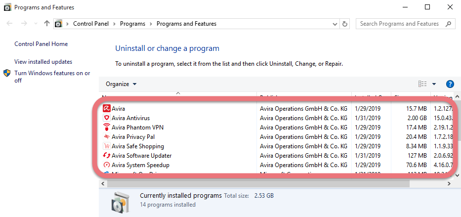 Remove Avira Antivirus 2019 in Windows