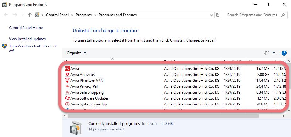 Remove Avira Antivirus 2019 in Windows