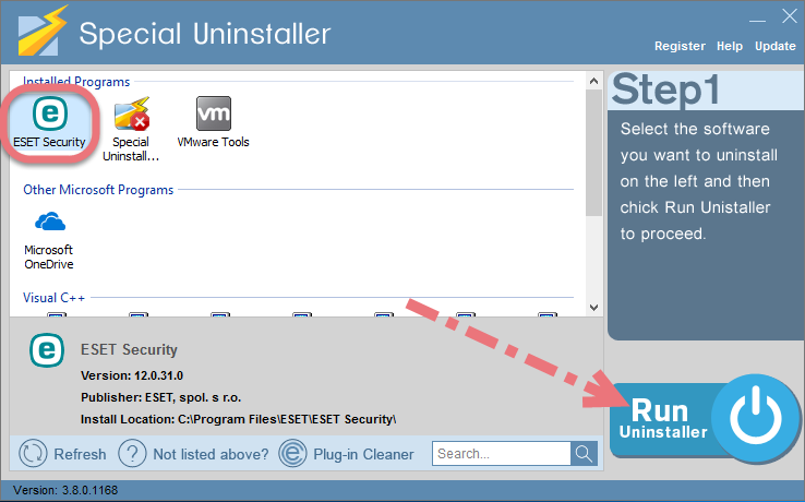 Remove ESET NOD32 2019 using Special Uninstaller