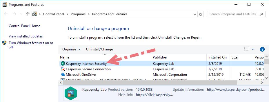 Remove Kaspersky Internet Security 2019