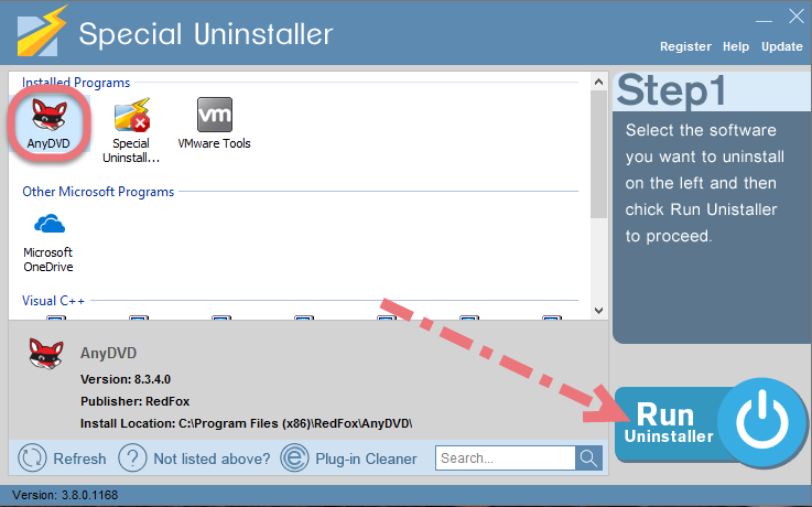 Uninstall AnyDVD using Special Uninstaller.