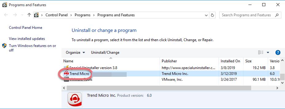 Uninstall Trend Micro Antivirus 2019 in Windows.