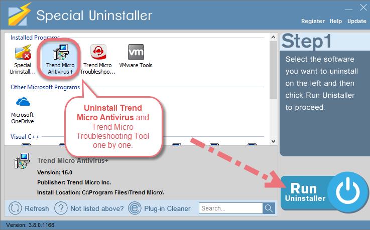 Uninstall Trend Micro Antivirus Using Special Uninstaller.