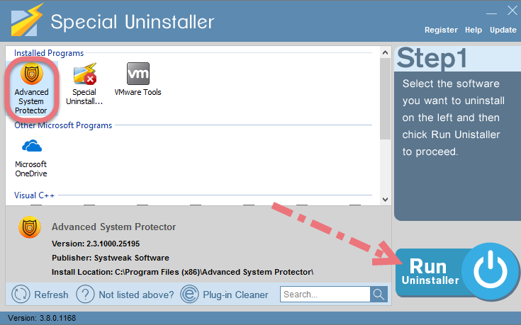 Remove Advanced System Protector using Special Uninstaller.