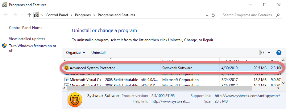 Remove Advanced System Protector