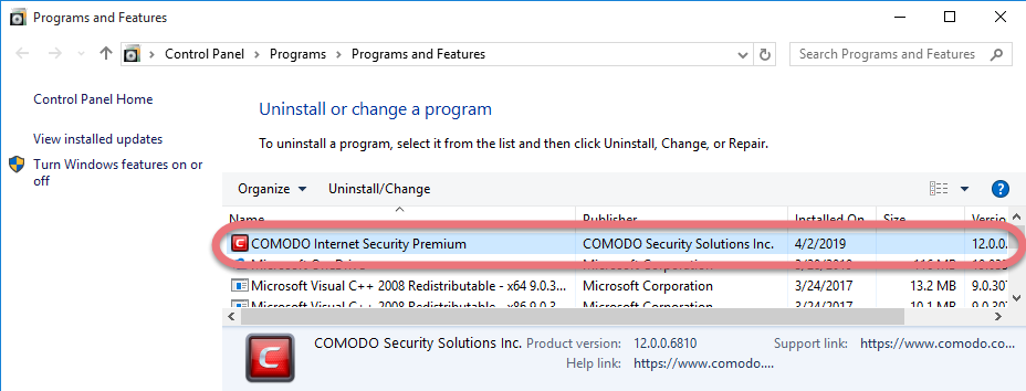 Remove Comodo Internet Security Premium 2019