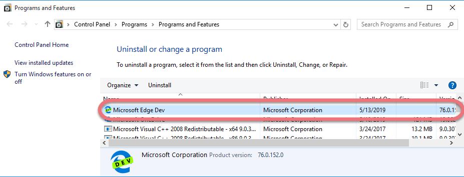 Remove Microsoft Edge in Windows
